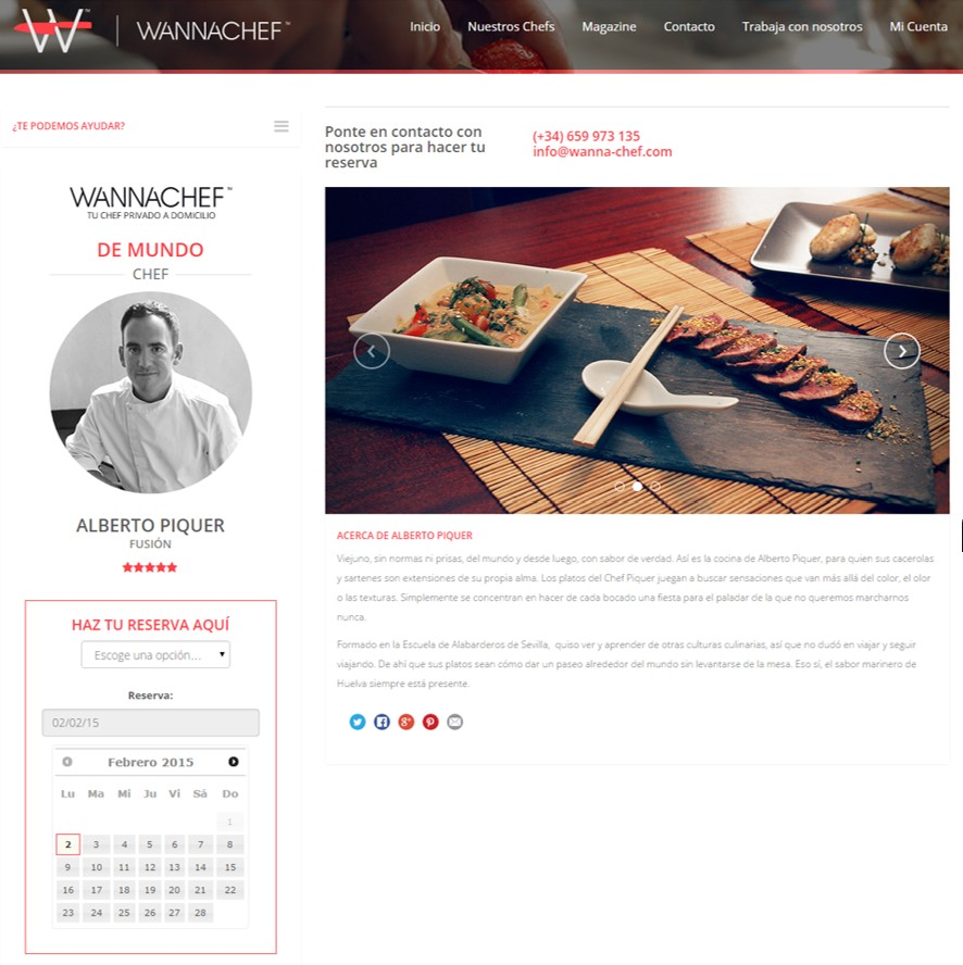 Plataforma WannaChef de alta cocina a domicilio