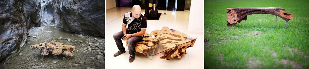 Exposición proyecto Soka en la Oleoteca La Chinata Raval en Barcelona. Mobiliario a base de madera de olivos centenarios