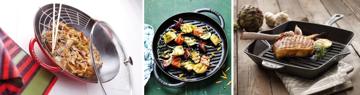 artículos de menaje para el hogar de Staub incluye sartenes, grilles y woks con los que disfrutar al aire libre