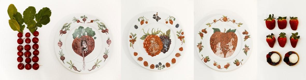 Oh Granny platos porcelana ilustracion cuentos